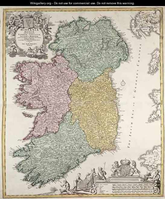 Map of Ireland showing the Provinces of Ulster Munster Connaught and Leinster - Johann Baptist Homann