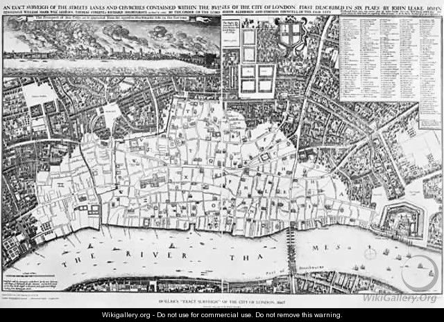 Map of the area of London burnt out by the Great Fire of 1666 - Wenceslaus Hollar