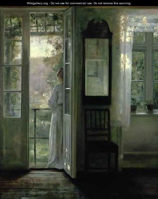 Girl Standing on a Balcony - Carl Vilhelm Holsoe