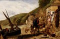 Welcome Bonny Boat The Fishermans Return scene at Clovelly North Devon - James Clarke Hook