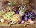 A Still Life of a Pineapple Grapes Peaches Strawberries and Hazelnuts on a Dresser - William B. Hough