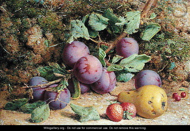 Plums Strawberries and a Pear on a Mossy Bank - William B. Hough