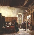 The Interior of the Great Hall Haddon Rent Day - John Callcott Horsley