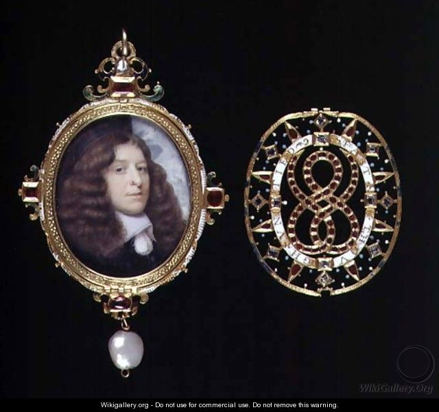 Miniature of an unknown man in a gold and jewelled frame and cover - (attr. to) Hoskins, John