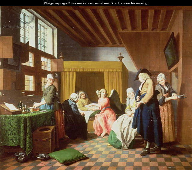 The Doctors Visits A Dutch Proverb The Doctor is Portrayed as an Angel Administering Aid to the Sick Man - Jan Josef, the Elder Horemans