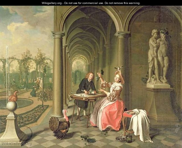 The Colonnade of a Country House with a Lady seated beside a Statue being served a Dish of Fruit - Peter Jacob Horemans