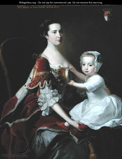 Portrait of Catherine Compton Countess of Egmont and her Eldest Son Charles Perceval - Thomas Hudson