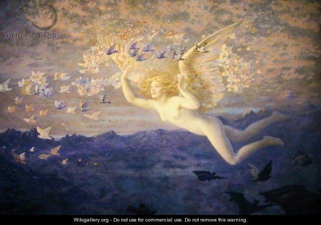 On the Wings of the Morning - Edward Robert Hughes