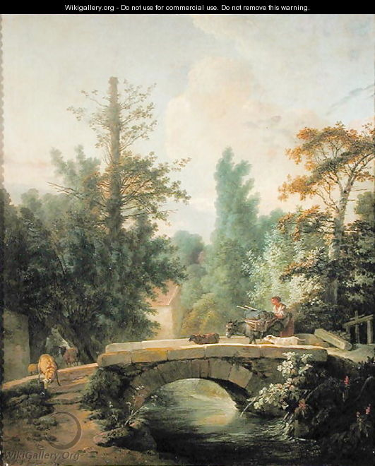 Peasant and her Donkey Crossing a Bridge - Jean-Baptiste Huet