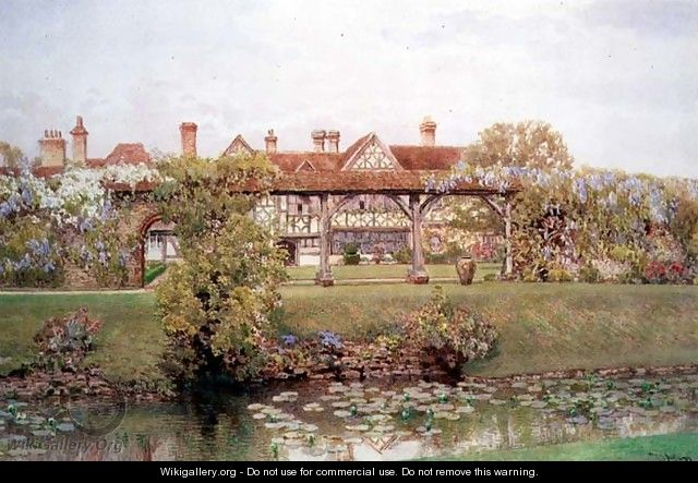 Great Tangley Manor Surrey with the Lily Pond and covered walk - Thomas H. Hunn