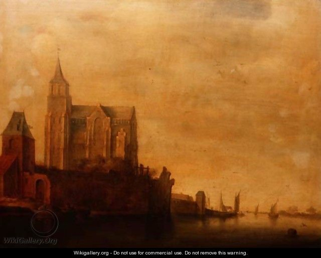 Groote Kerk with a View of the Main Tower Emmerich in a River Landscape with Sailing Boats - Maerten Fransz van der Hulst