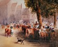 Early Morning in the Village Cattle Market - William Hunt