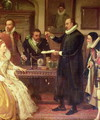 Dr William Gilberd 1540-1603 Showing his Experiment on Electricity to Queen Elizabeth I and her Court detail of Gilberd - Arthur Ackland Hunt
