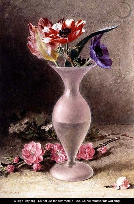 Glass vase and flowers - William Henry Hunt