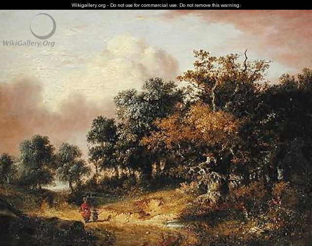 Wooded Landscape with Woman and Child Walking Down a Road - Robert Ladbrooke