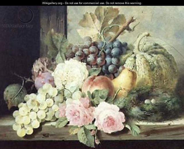 Still Life with Roses and Fruit - Edward Ladell