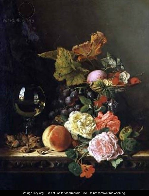 A Wine Glass Grapes Nuts and Roses on a Ledge - Edward Ladell