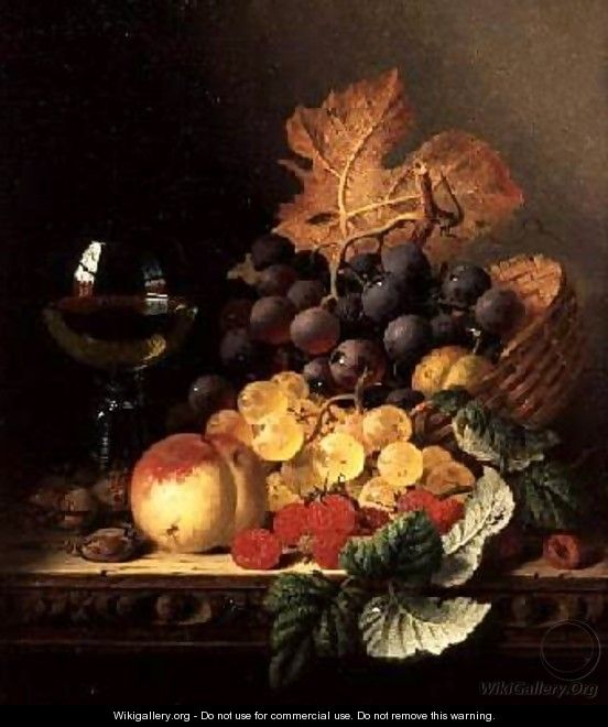 A Basket of Grapes Raspberries a Peach and A Wine Glass on a Table - Edward Ladell