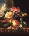 A Still Life of Fruit and Flowers - Edward Ladell