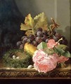 Still life roses fruit and birds nest - Edward Ladell