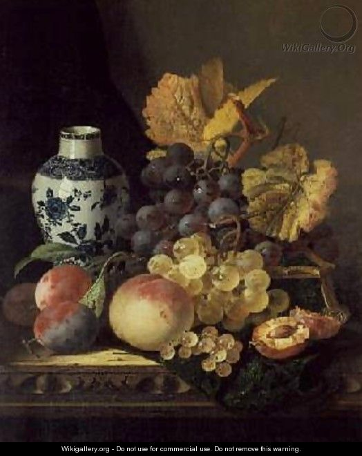 Grapes Peaches Plums and Currants with a Blue and White Vase - Edward Ladell