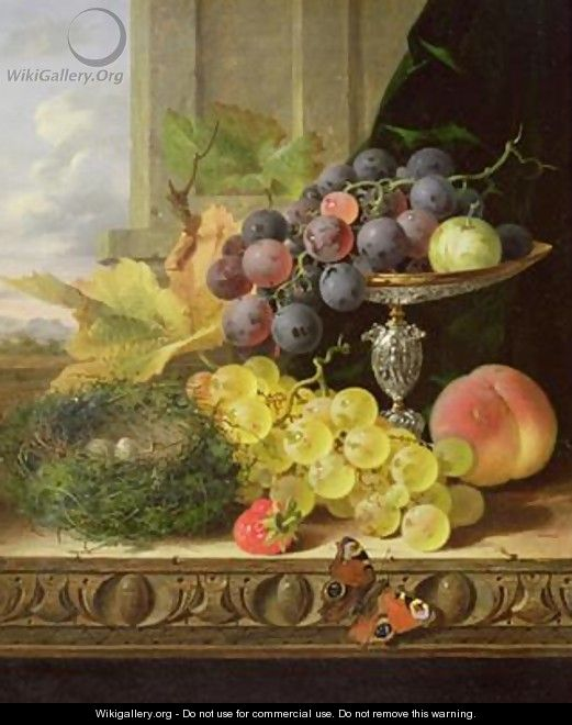 Still life of fruit a tazza and a birds nest - Edward Ladell