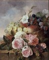 Still life of fruit and roses on a ledge - Edward Ladell