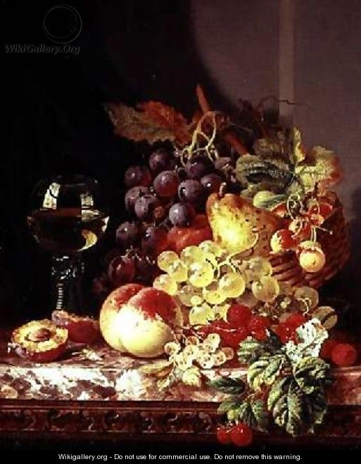 Still life with grapes and wine - Edward Ladell