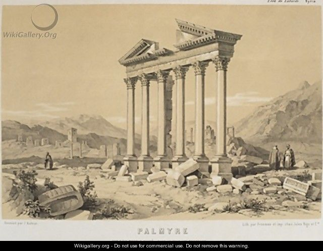 View of a ruined temple Palmyra Syria - (after) Laborde, Leon de