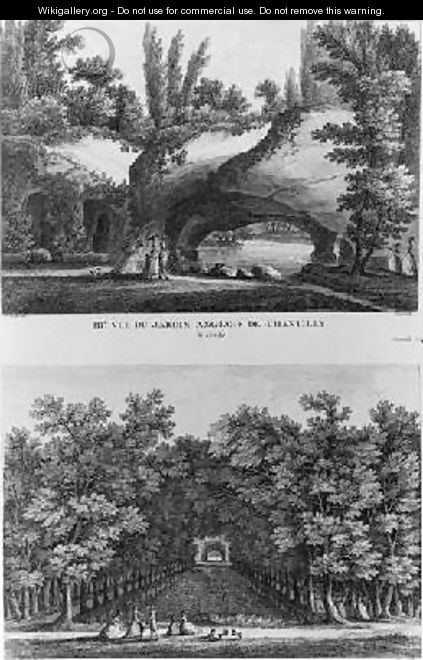 Two views of Chantilly the grotto of the English landscaped garden and the head of the Grand Canal - (after) Lacombe