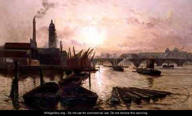 The Old Hungerford Bridge on the River Thames - Charles John de Lacy