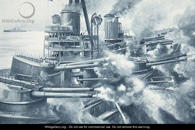 Biting with all her teeth at once the tremendous power of a Great modern Battleships broadside - Charles John de Lacy