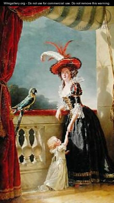 Portrait of Louise Elisabeth de France 1727-59 Duchess of Parma and her son Ferdinand 1751-1802 - Adelaide Labille-Guyard