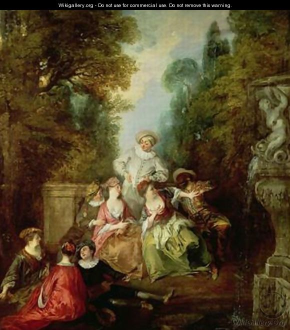 Italian Comedians by a Fountain - Nicolas Lancret
