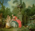 A lady and a gentleman in the Garden with two children 2 - Nicolas Lancret