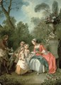 A lady and a gentleman in the Garden with two children - Nicolas Lancret