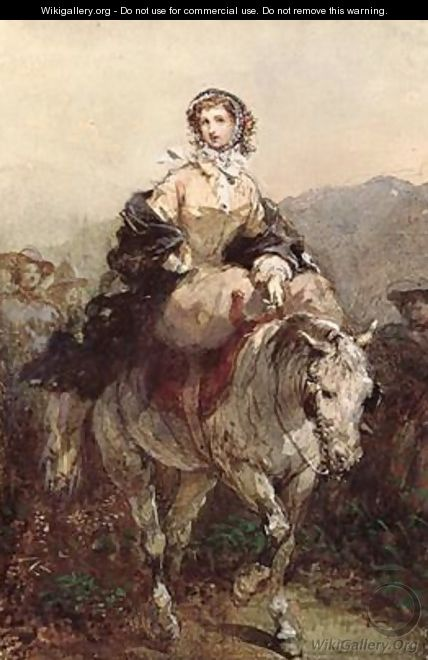 Young Woman on a Horse - Eugene Louis Lami