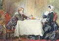 Alfred de Musset 1810-57 and George Sand 1804-76 at the Table - Eugene Louis Lami