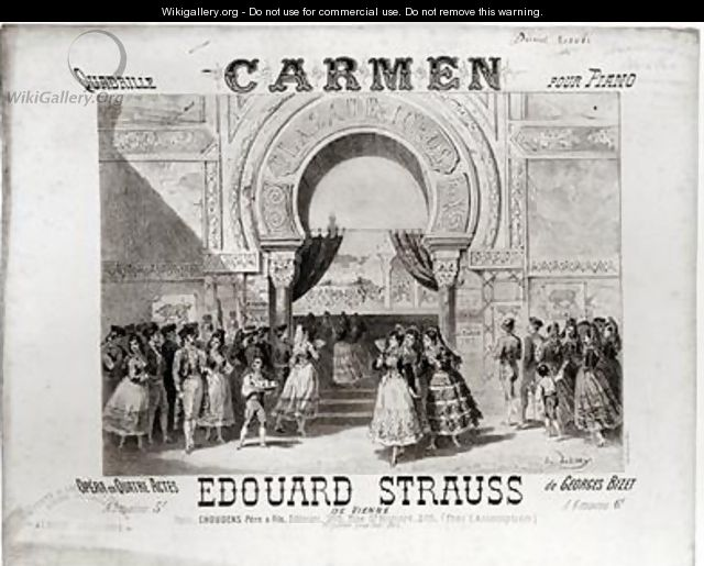 Cover of the score of piano quadrille from Carmen by Edouard Strauss 1835-1916 - A. Lamy
