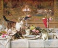 Kittens at a banquet - Louis Eugene Lambert