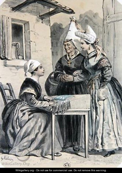 Lacemakers of Caen in Normandy - Francois-Hippolyte Lalaisse