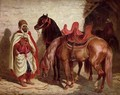 An Arab with two horses - Francois-Hippolyte Lalaisse