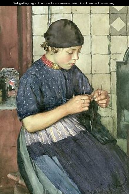 Girl Knitting - Walter Langley