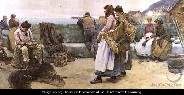 In a Cornish Fishing Village Departure of the Fleet for the North 2 - Walter Langley