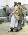 In a Cornish Fishing Village Departure of the Fleet for the North - Walter Langley