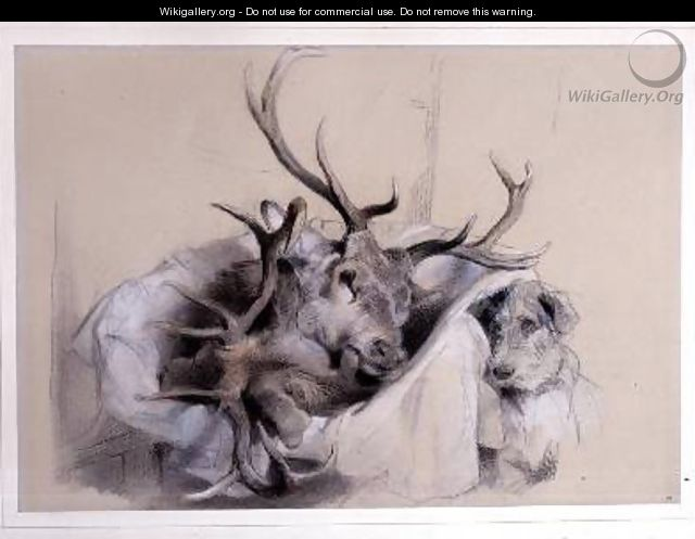 Stags Heads and Dog - Sir Edwin Henry Landseer
