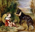 Hours of Innocence Lord Alexander Russell son of the 6th Duke of Bedford with his dog - Sir Edwin Henry Landseer