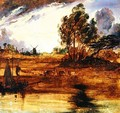 A River Landscape at Sunset - Sir Edwin Henry Landseer