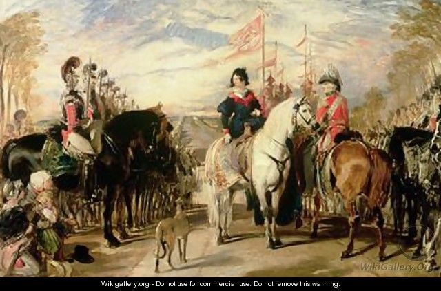 Queen Victoria and the Duke of Wellington reviewing the Life Guards Windsor Great Park in the distance - Sir Edwin Henry Landseer