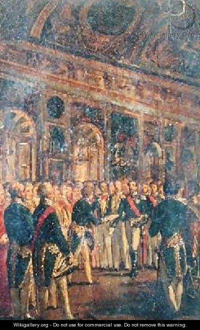 The Senate Presenting Louis Napoleon Bonaparte 1808-73 with the Result of the Plebiscite Proclaiming him Emperor - Charles-Philippe Lariviere